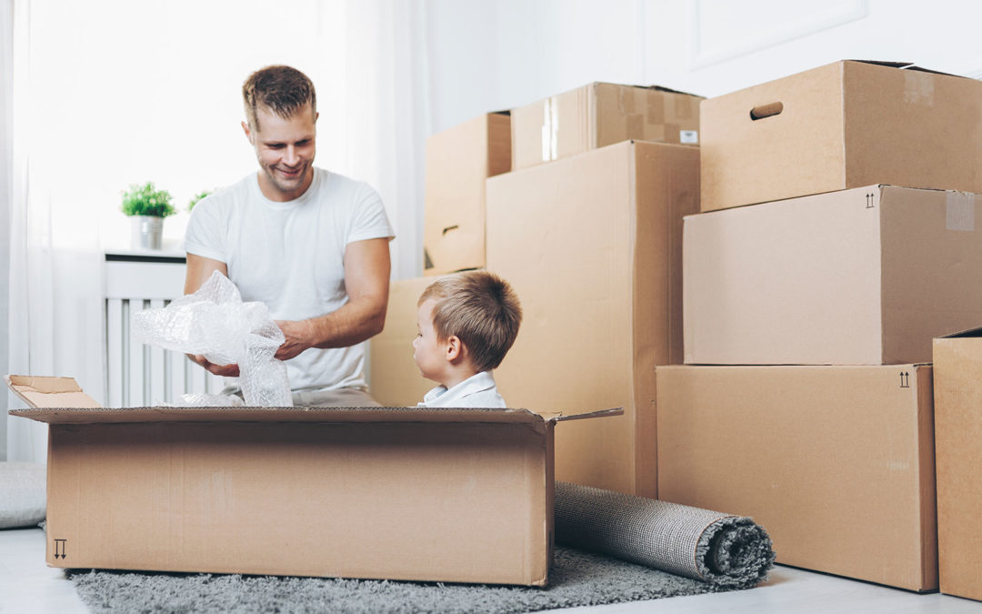 Moving boxes with family